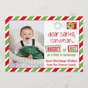 naughty or nice christmas postcard card 5x7 - Naughty Or Nice Christmas Card