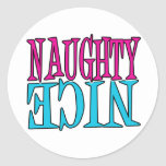 Naughty or Nice Classic Round Sticker