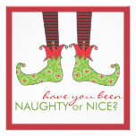 Naughty or Nice Elf Feet Holiday Christmas Party Custom Invite