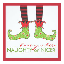 Naughty or Nice Elf Feet Holiday Christmas Party Invitation