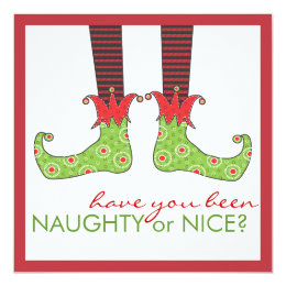 Naughty or Nice Elf Feet Holiday Christmas Party 5.25x5.25 Square Paper Invitation Card