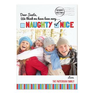 Naughty or Nice Family Christmas Photo Card Custom Invitation