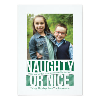 Naughty or Nice Funny Holiday Square Photo Card