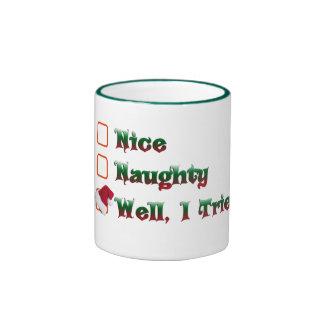naughty or nice i tried christmas mug design