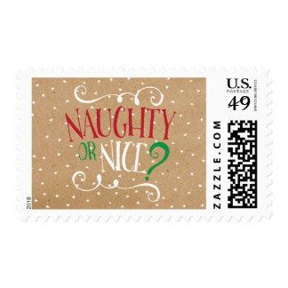 Naughty or Nice Kraft Holiday Postage