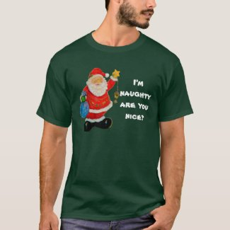 Naughty or Nice Men's Christmas T-Shirt, Green T-Shirt