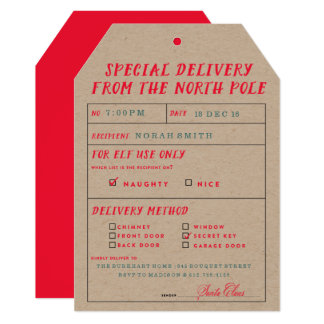 Naughty or Nice North Pole Delivery Party Invite