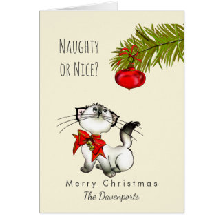 Naughty or Nice Playful Kitty Cat Christmas Card