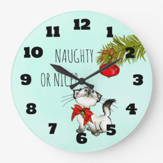 Naughty or Nice Playful Kitty Cat Christmas Large Clock