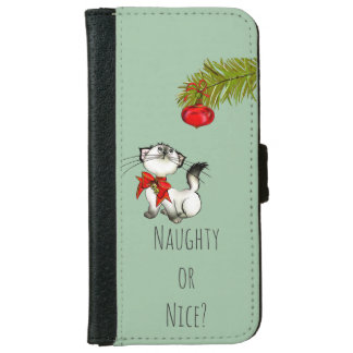 Naughty or Nice Playful Kitty Cat Christmas Wallet Phone Case For iPhone 6/6s