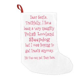 Naughty Polish Lowland Sheepdog Small Christmas Stocking