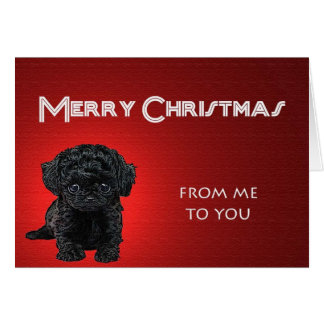 Naughty Puppy Christmas Greeting Card