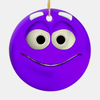 Naughty Purple Emoticon Ceramic Ornament