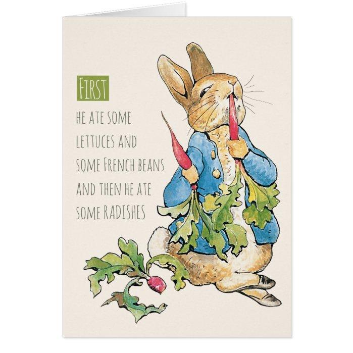 Naughty rabbit gorging on radishes CC1118 Card