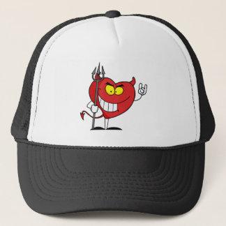 Naughty Red Heart Character Devil Trucker Hat