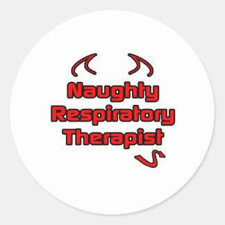 Naughty Respiratory Therapist Classic Round Sticker