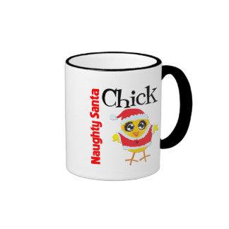 Naughty Santa Chick Ringer Coffee Mug