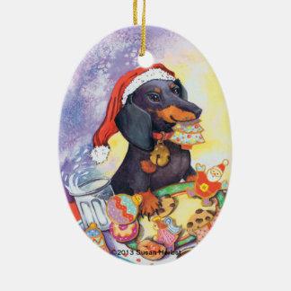 Naughty Santa Doxie Ornament