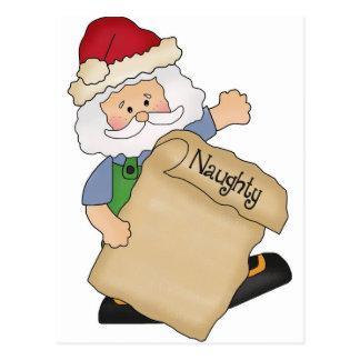 Naughty Santa List Postcard