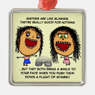 Naughty Sisters Metal Ornament
