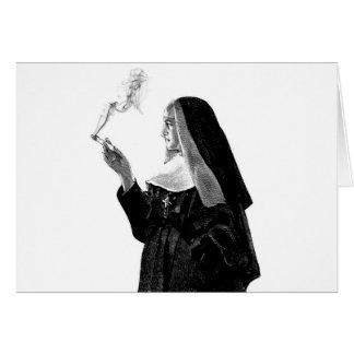 Naughty Smoking Nun Card