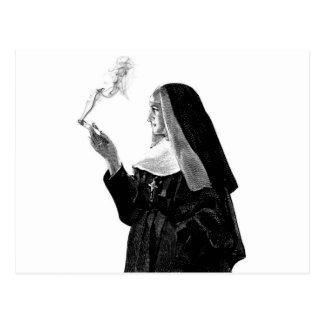 Naughty Smoking Nun Postcard