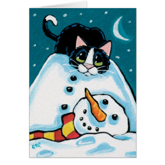Naughty Tuxedo Cat and Headless Snowman Greeting Cards