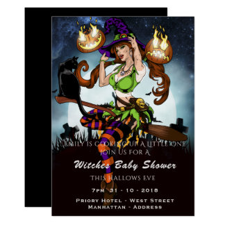 Naughty Witch Baby Shower Halloween Party Invite