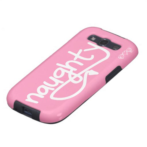 naughty with devil's tail - bubblegum pink samsung galaxy s3 cases