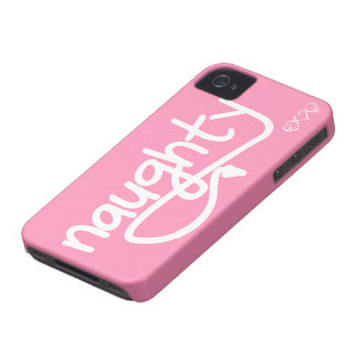 naughty with devil's tail - bubblegum pink iPhone 4 Case-Mate case