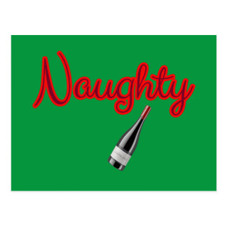Naughty with Wine Bottle Postcard