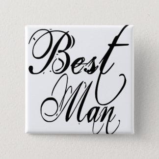 Naughy Grunge Script - Best Man Black Button
