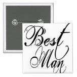 Naughy Grunge Script - Best Man Black 2 Inch Square Button