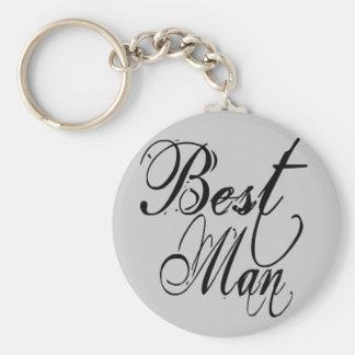 Naughy Grunge Script - Best Man Black Keychain