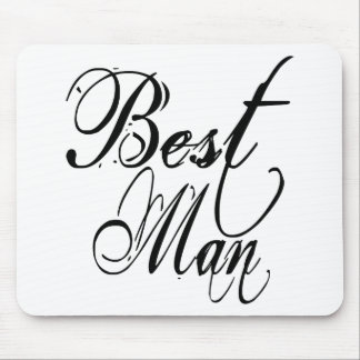 Naughy Grunge Script - Best Man Black Mouse Pad