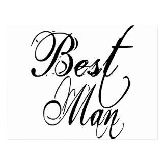 Naughy Grunge Script - Best Man Black Postcard