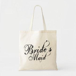 Naughy Grunge Script - Bride s Maid Black Tote Bags