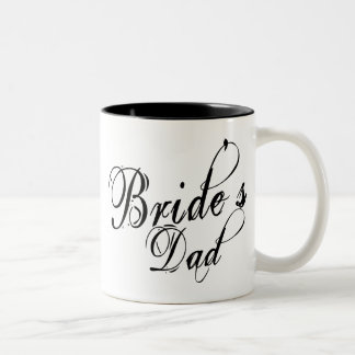 Naughy Grunge Script - Bride's Dad Black Two-Tone Coffee Mug