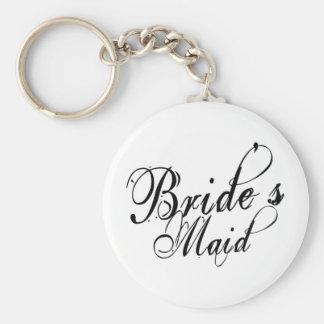 Naughy Grunge Script - Bride's Maid Black Keychain