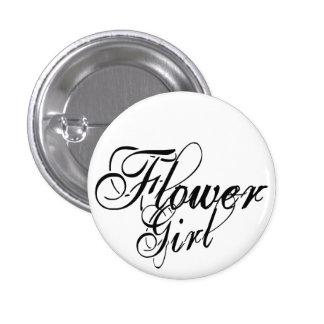 Naughy Grunge Script - Flower Girl Black Button