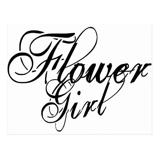 Naughy Grunge Script - Flower Girl Black Postcard