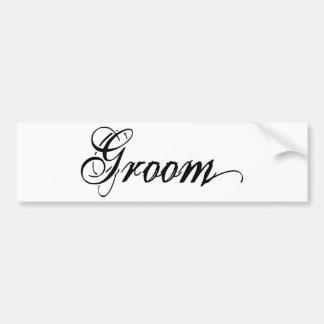 Naughy Grunge Script - Groom Black Bumper Sticker