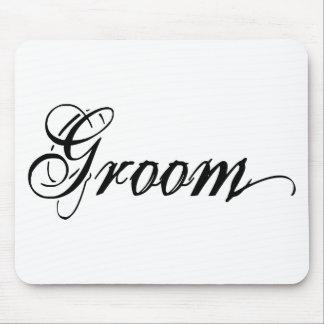 Naughy Grunge Script - Groom Black Mousepad