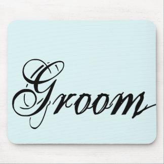 Naughy Grunge Script - Groom Black Mouse Pad