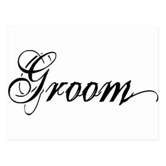 Naughy Grunge Script - Groom Black Postcard