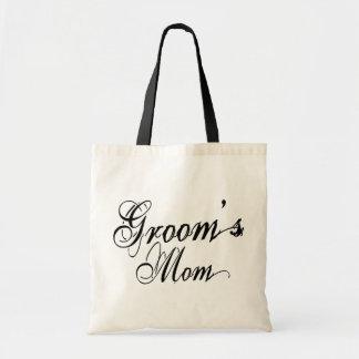 Naughy Grunge Script - Groom s Mom Black Canvas Bags