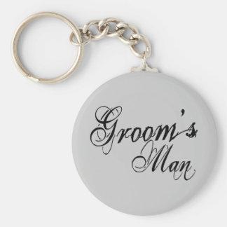 Naughy Grunge Script - Groom's Man Black Basic Round Button Keychain