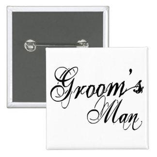Naughy Grunge Script - Groom's Man Black Button