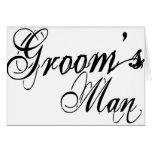 Naughy Grunge Script - Groom's Man Black Greeting Cards