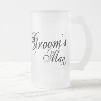 Naughy Grunge Script - Groom's Man Black Frosted Glass Beer Mug